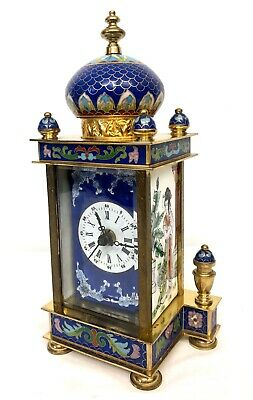 20th Century Chinese Cloisonne French Style Enamel Mantel Bracket Clock