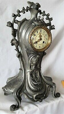 Art Nouveau Clock French Japy Freres Movement, Signed Melotte Pewter Case