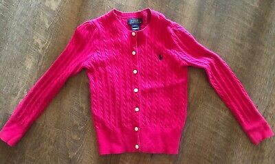 Polo Ralph Lauren GIRLS Pink Cotton Sweater Cardigan sz 6 Cable Knit
