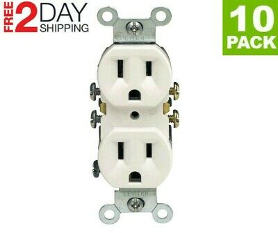 10 Pack 125 Volt 15 Amp Electrical Outlet Receptacle Plug White Residential