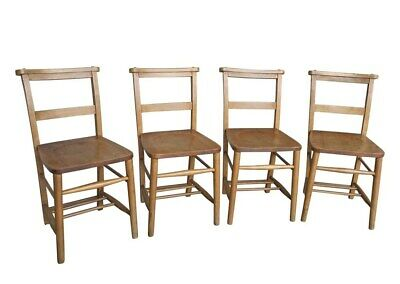 Set of 4 Wooden Church/Chapel Chairs - Reclaimed Kitchen Seating - Dining Chairs