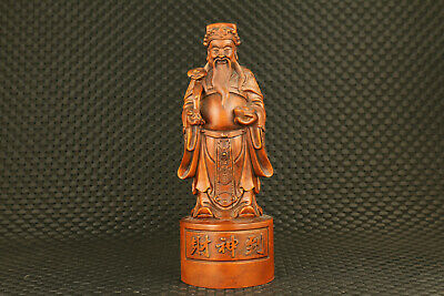 Chinese old boxwood hand carved caishen statue figure