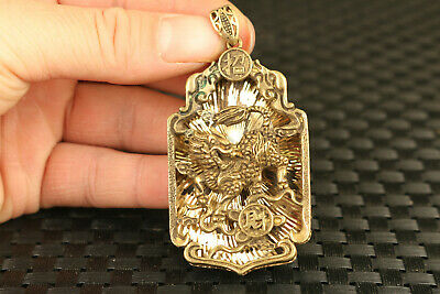 chinese old copper carved buddha blessing kylin statue pendant