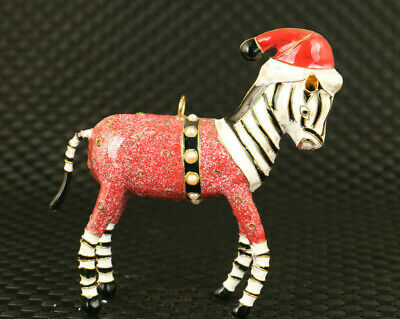 Good stand Chinese cloisonne hand paint colour horse collectable pendant statue