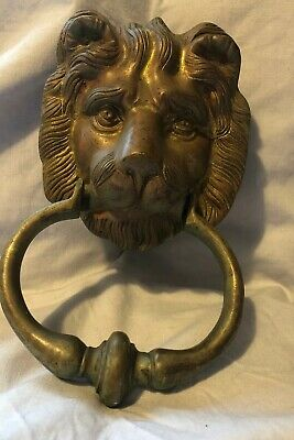 Vintage Brass Door Knocker Lion Head Salvage has a great Patina