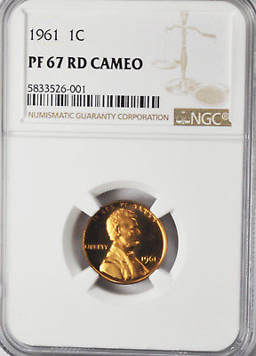 1961 Proof Lincoln Cent certified PF 68 RD by NGC!