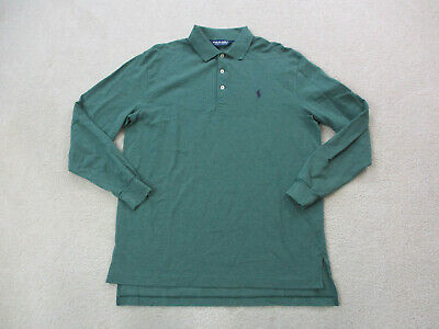 Ralph Lauren Polo Shirt Adult Medum Green Purple Long Sleeve Golf Rugby Mens