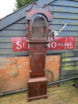 Antique English Mahogany Longcase Grandfather Clock Case Only, Spares Or Repair