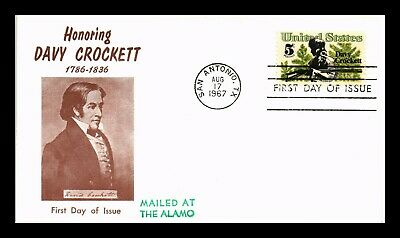 Dr Jim Stamps Us Davy Crockett First Day Cover Scott 1330 Mailed At Alamo