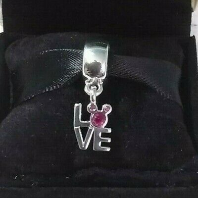 925 Authentic Pandora Disney Mickey LOVE Charm Sterling Silver #791448CZR