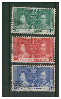 Hong Kong 1937 Coronation Omnibus Set Of 3 Very Fine Used Vfu Elizabeth & George