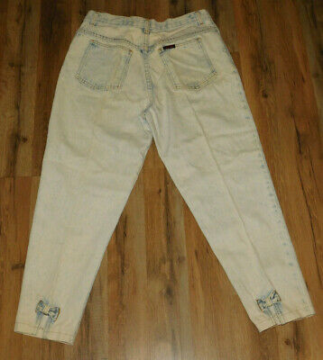 Vtg Sasson 80's Jeans Cropped High Waist Acid Wash Bleached  Bow Tie Ankles 14