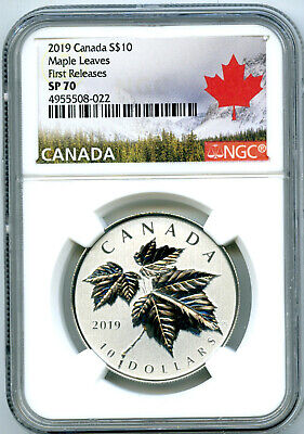 2019 Canada $10 1/2Oz .9999 Silver Ngc Sp70 Maple Leaf Leaves First Releases