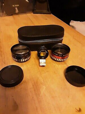 Vivitar Aux Lens set with viewfinder (telephoto and wide angle). In case.