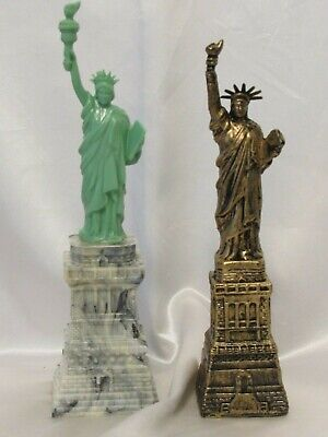 "2 Vintage Statue of Liberty Plastic Souvenir & Coin Still Bank 7¾""-8½"" Tall 1960"