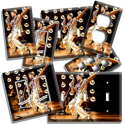 ELVIS PRESLEY HOLDING TWIN NECK GUITAR DOUBLE LIGHT SWITCH PLATE ROOM HOME DECOR