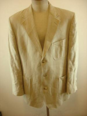 Mens sz 43L Brooks Brothers Khaki Tan 100% Linen Suit Jacket Blazer Summer Tweed