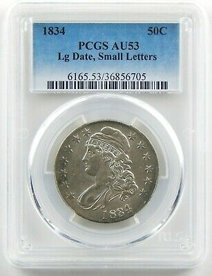 1834 50c Large Date Small Letters Bust Half Dollar PCGS AU53 Circ Coin A9260
