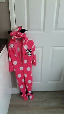 Girls pink Fleecy Yr 4-6 Disney Minnie Mouse Onesie Not Gerber All-in-one