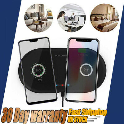Qi Dual Wireless Charger Charging Mat Pad For Samsung Note 10+iPhone 11 Pro Max