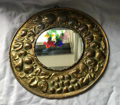 Vintage Old Pressed Brass Fruit and leaves Round Mirror - 25cms diameter