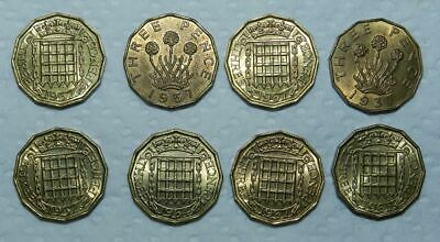 Great Britain : Lot Of 8 Old Brass Threepence - All With Lustre