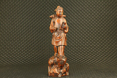 unique chinese old boxwood hand carved study man statue valuable art