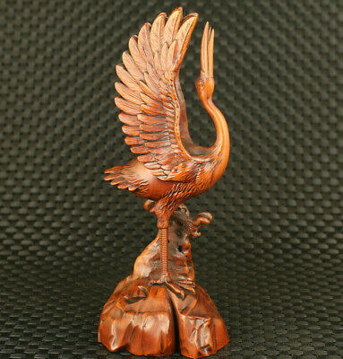 big old chinese boxwood hand carved red-crowned crane statue netsuke