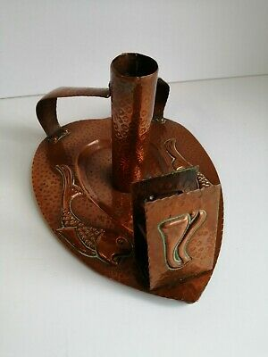 CH Arts and crafts movement - hammered copper candle holder with fish design