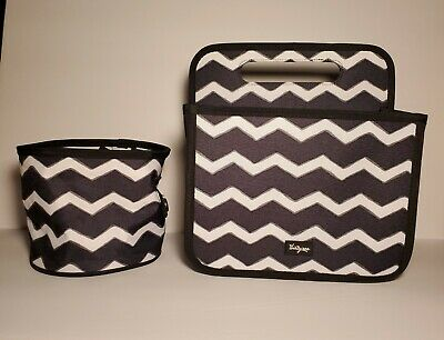 Thirty-One Double Duty Caddie & Oh Snap Bin Black Chevron NWOT FREE Shipping