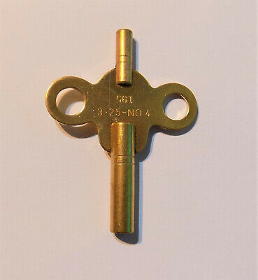 New Brass Double Ended Clock Key Size No 4 - 3.25 With 1.95 Small End