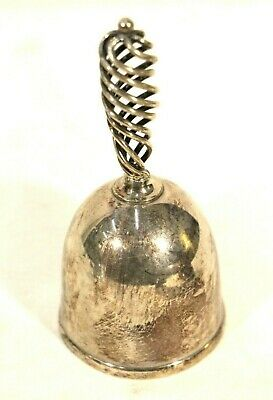 Silver Plate Dinner Bell Hand Bell Twisted Handle Decor