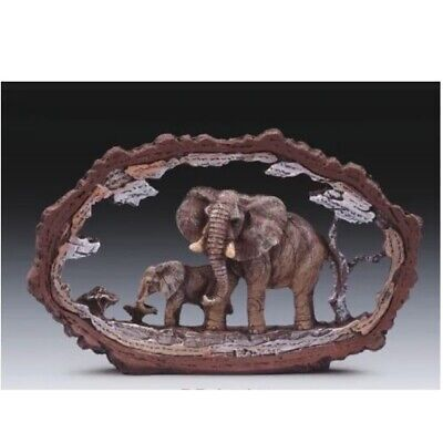 Elephant In Tree Frame Figurine New