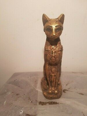 Rare Antique Ancient Egyptian Statue Goddess Bastet cat Isis Scarab 1860-1780BC