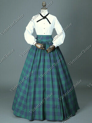 Victorian Dickens Faire Plaid Dress Country Little Women Theatre Gown 314 XXL