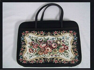 Bible Book Cover Floral Tapestry with Carrying Handles Black