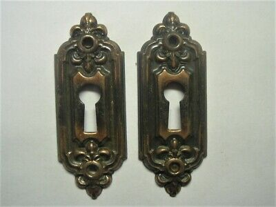 """2 Antique 1910 Era Heavy Raised Relief 3"""" Matching Key Hole Covers Larger Size"""