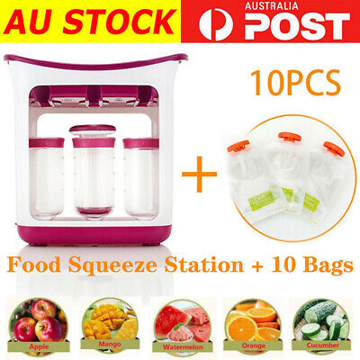 Pouches Homemade Squeeze Infant Baby Food Station Feeding Maker Fresh AU Storage