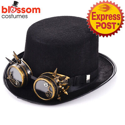 N37 Steampunk Black Top Hat with Buckle Costume Vintage Magician Ringmaster