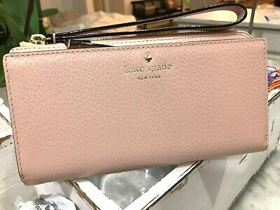 Kate Spade Grand Street Layton Double Zip Continental Wristlet Wallet $228 Pink
