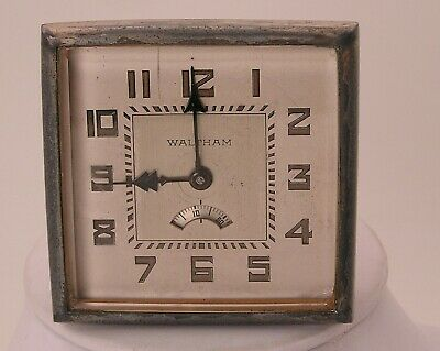 Awesome Antique 2-3/4 Square Waltham Car Clock RARE-Wandering Seconds 2Tone Dial