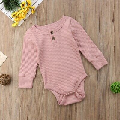 Infant Baby Boy Girl Knit Romper Bodysuit Long Sleeve Jumpsuit Outfits US STOCK
