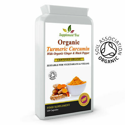 Turmeric Curcumin( ORGANIC)with Ginger and Black Pepper 120 Caps High Potency