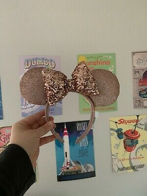Disney Parks Briar Rose Gold Minnie Mouse Ears Headband Bow  - NEW