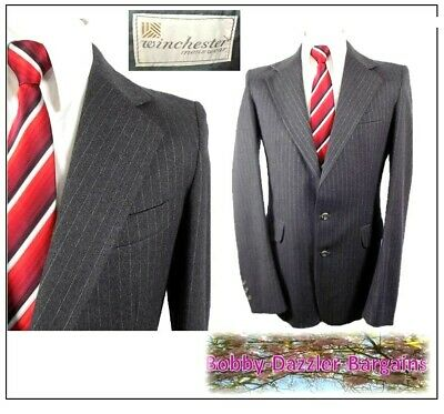 """Winchester 2 piece mens suit Ch38""""L W30"""" L34""""Grey Pinstripe Felted wool Vintage"""