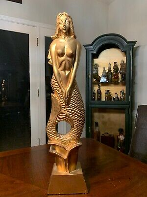 """Mermaid hand carved of koko wood and painted gold. From Burma 23"""" x 4"""""""