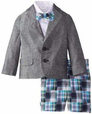 "NEW Izod Boys ""GRAY & BLUE PATCHWORK"" 3pc Size 6 Spring Shorts Suit EASTER? NWT"