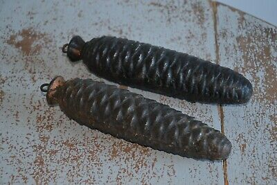 Set of 2x Clock Weights Cast Iron 1.3kg & 1.4kg Pine Cone Shape Black H18x5cm