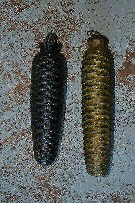 2x Clock Weights Casting Iron 1.2kg Pine Cone Shape Black, Golden 18x4cm, 16x4cm