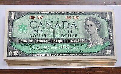 $1 One Dollar Centennial 1867 1967 Canada Bank Note - About Uncirculated